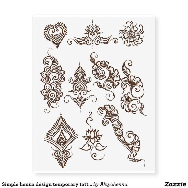 Brown Henna Tattoo: Simple Henna Design Temporary Tattoo Sheet- Brown