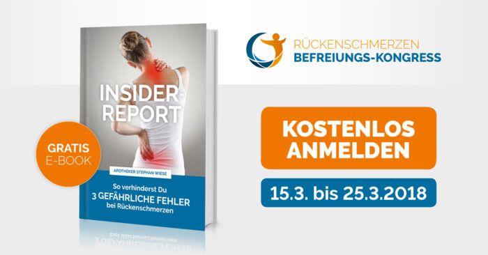 Von 15. März 2018 bis 25. März 2018: Rückenschmerzen-Befreiungs-Kongress von Stephan Wiese.  Endlich wieder schmerzfrei! Kostenfrei anmelden: http://go.zweimacha.197921.17923.digistore24.com #Rückenschmerzen sind die Volkskrankheit Nr. 1 Ganze 83% der Erwachsenen in Deutschland gaben an im vergangenen Jahr unter Rückenschmerzen gelitten zu haben. (Stand Januar 2017, lt. statista), #Rücken, #Schmerz #Bewegung #Behandlung #kostenlos