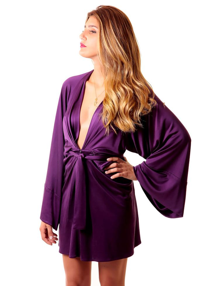 Issa | Wrap-Effect Silk-Jersey Dress in purple www.sabrinascloset.com