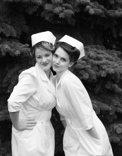 vintage nurse photo shoot. girlfriends!