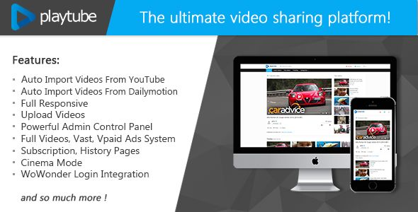 PlayTube v1.3  The Ultimate PHP Video CMS & Video Sharing Platform
