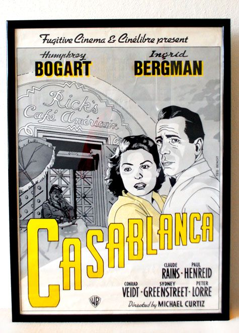 Oude Casablanca film poster. Old Cacablanca Movie Poster Woonaccessoires « van OnS