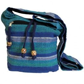 Nepal Sling Bag Wholesale   Hip Angels Scarves Blue Rivers Nepal bags, our Nepal Sling bag also has side pocket with a functional and fashionable wood bead zipper, and inside coin pocket ideal to keep change and credit cards #Wholesale_Nepal_Bags #Cheap_Bags #Wholesale_Ecofriendly_Bags