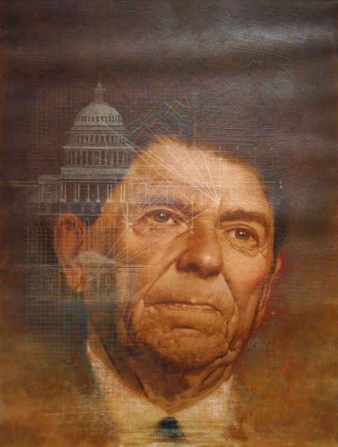 Ronald Reagan, Time cover December 13, 1982, by Mark English, Oil and pastel on canvas mounted to board