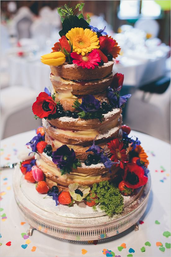Victoria Sponge Cake with flowers and fruit