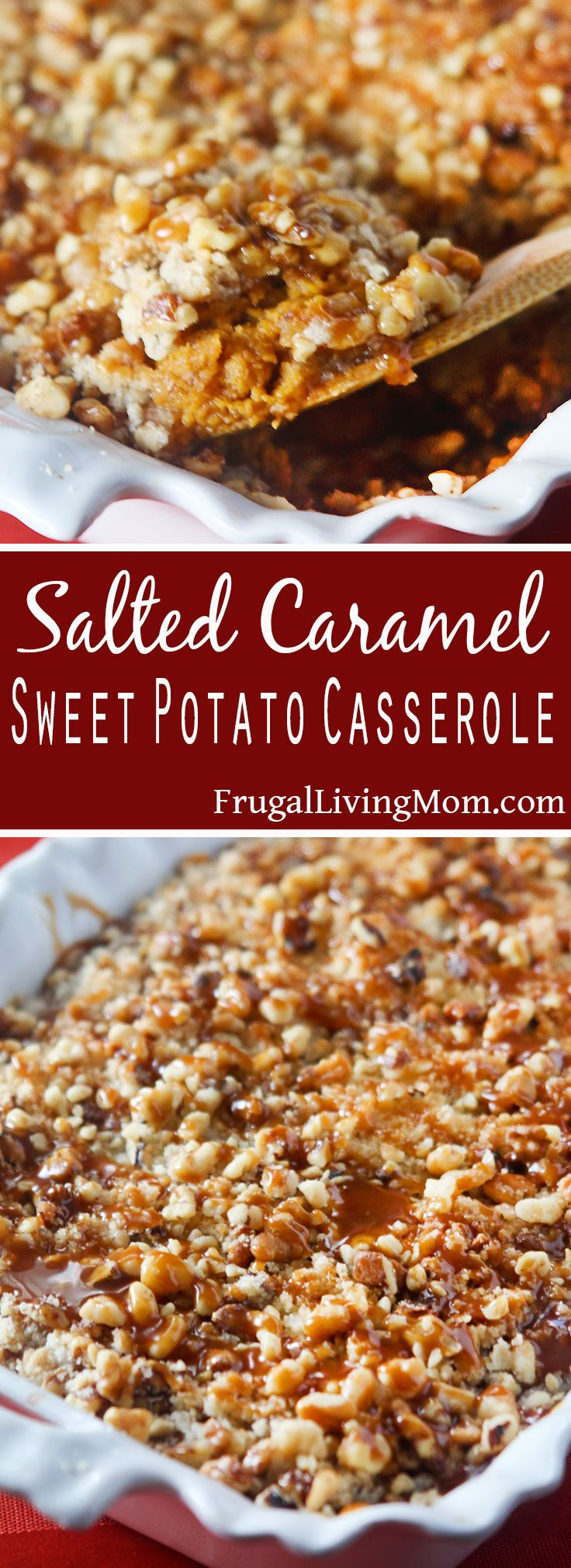 Looking for a new Sweet Potato Casserole recipe? You will love this one with Salted Caramel. Yum, just the right amount of sweet and salty. Perfect for your holiday table. Salted Caramel Sweet Potato Casserole