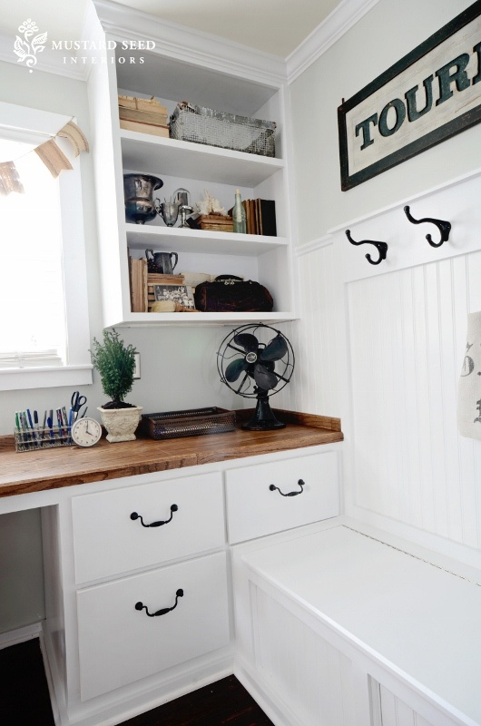 Office: Love built in desk and shelves and wood desk top