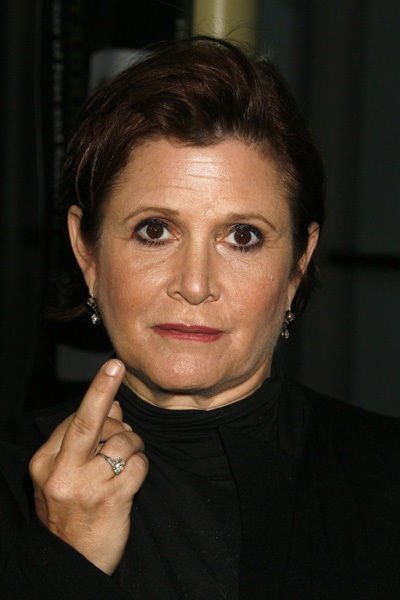 carrie fisher flippin the bird, middle finger, princess leia, star wars, funny, humor