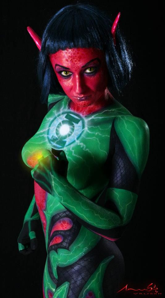 BODY PAINT: Iron Man, Spider-Man, Poison Ivy, The Human Torch & The Flash