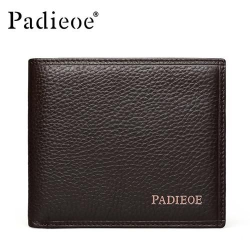 Padieoe Genuine Leather Men Wallets Famous Brand Male Wallet For Business Man Solid Brown Color Short Wallets