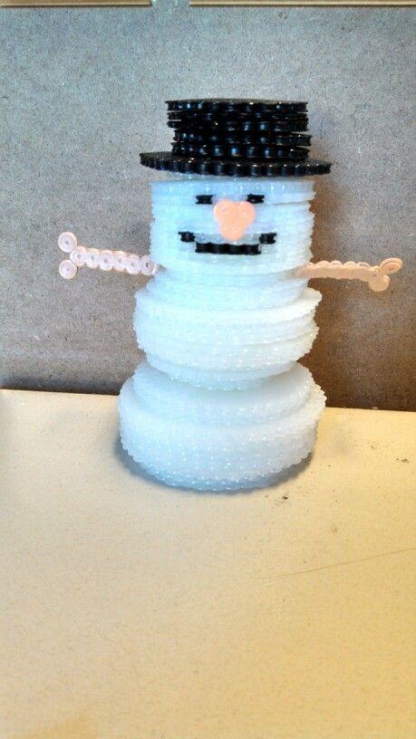 3d Snowman Perler Beads By Katie Bradley Perler Beads
