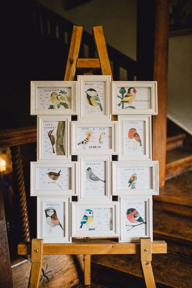Collage Frame Bird Table Plan - Image by Kerry Diamond Photography - Bride wears Bespoke Gown & Veil by Dana Bolton. Outdoor Ceremony at Voewood House in Norfolk with Picnic Wedding Breakfast & Lawn Games.