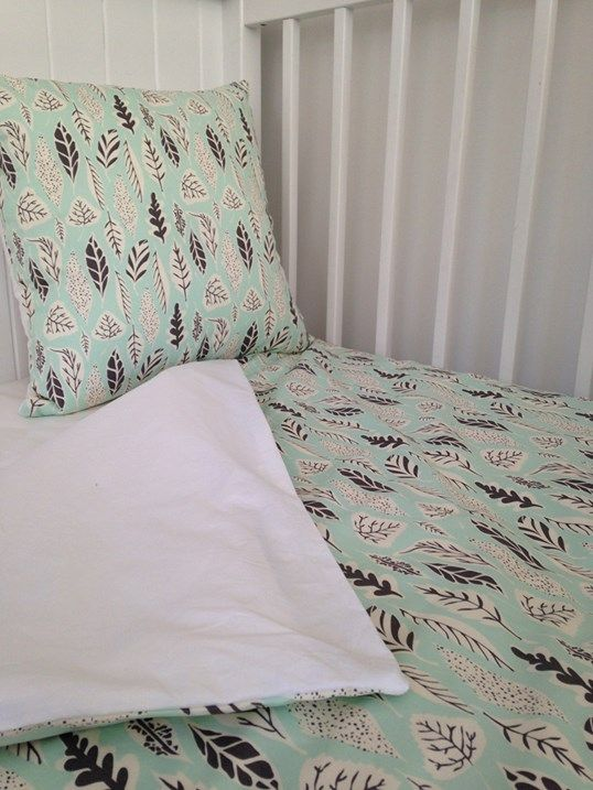 Mint leaves cot duvet cover. A beautiful mint and grey colour combo. Perfect for a nursery. 100% cotton. Made in New Zealand. www.lovefromfriday.co.nz