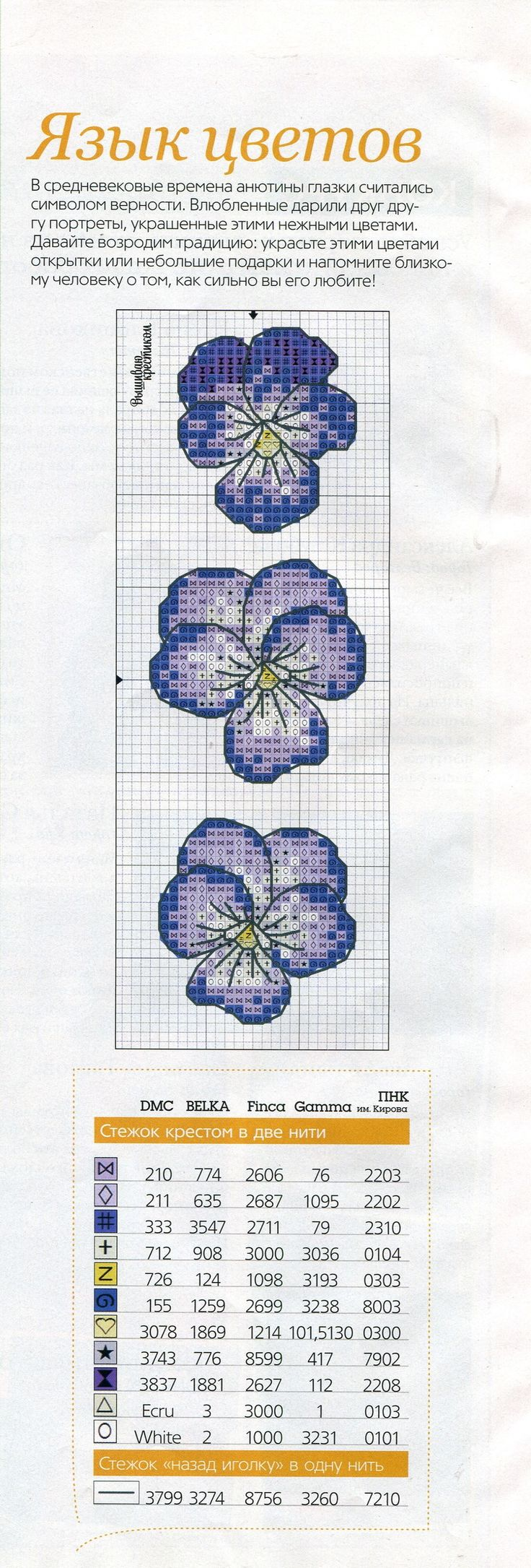 Flowers cross stitch pattern and color chart.
