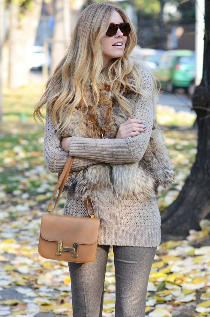 Not sure why, but the idea of a fur (fake of course) vest is growing on me, especially if paired like this! The neutrals work well together.
