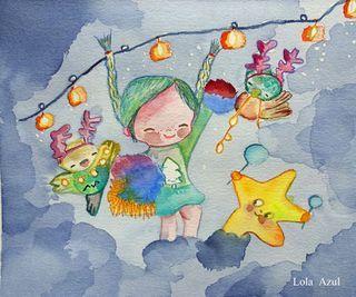 Ilustración 'festive' y 'celebrate'