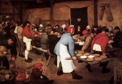 BRUEGEL, Pieter the Elder (b. ca. 1525, Brogel, d. 1569, Brussels)   Click! Peasant Wedding  c. 1567 Oil on wood, 114 x 164 cm Kunsthistorisches Museum, Vienna  Painted about 1567, this picture has traditionally been thought of simply as a depiction of peasant life. However, it seems likely that, in addition to the obvious celebration of peasant life, the picture has a moral dimension - the celebration of the sacrament of marriage has simply become an excuse for self-indulgence. Whereas in…