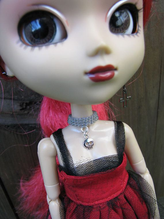 Gothic Skull Fashion Doll Choker Necklace fit Blythe by finasma