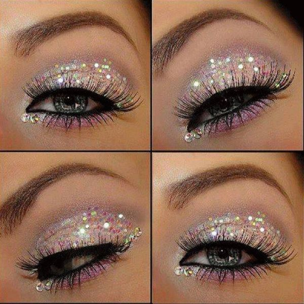 Pink lips and glitter eye shadow makeup look. Great for New Year's