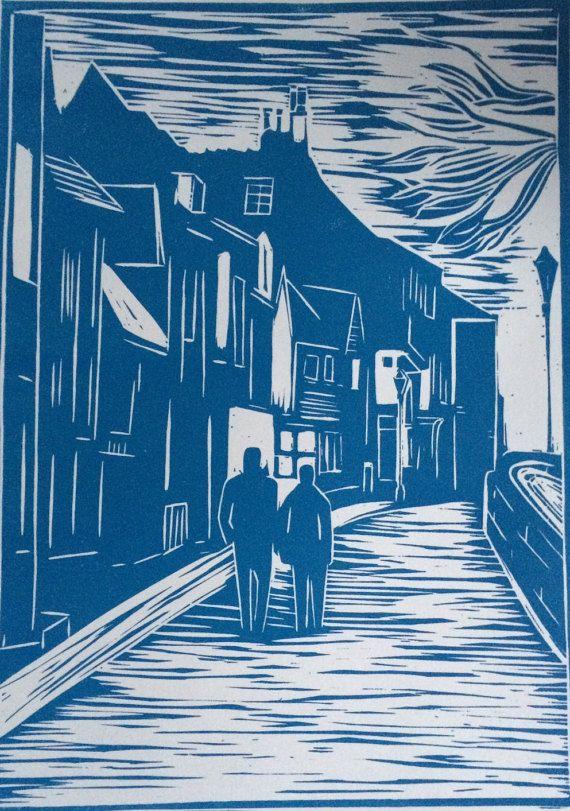 Church Street Rye by LinoPrintDesign on Etsy