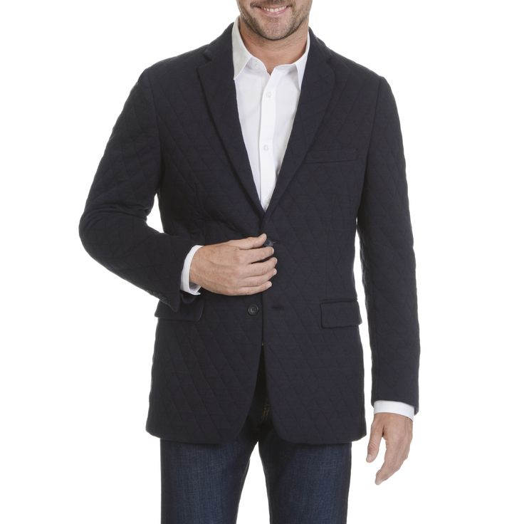 U.S. Polo Association Men's Navy Cotton-blend Quilted Sport Coat