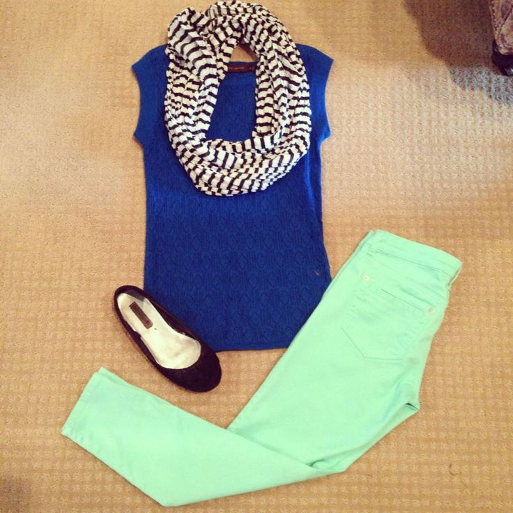 Mint jeans and cobalt blue with stripe scarf. Totally me everyday.