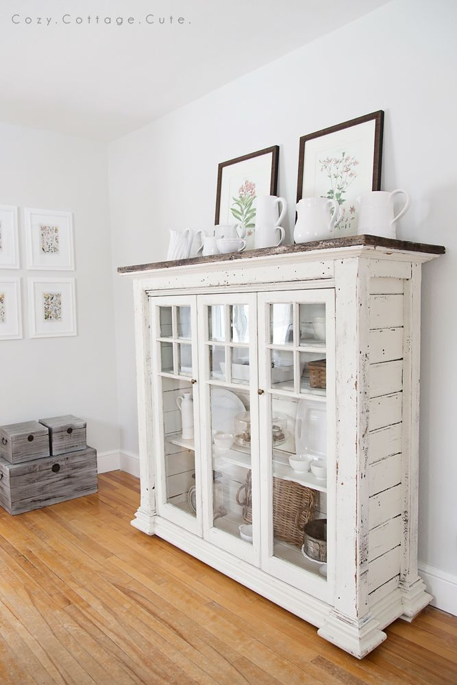 What a fun cabinet! White Dishes on the Dining Room Cabinet - Cozy.Cottage.Cute.