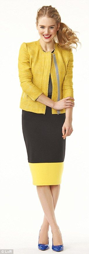Jacket, £50, next.co.uk, Grey top (underneath), £19.99, zara.com, Pencil skirt, £12, matalan.co.uk, Blue courts, £60, dune.co.uk