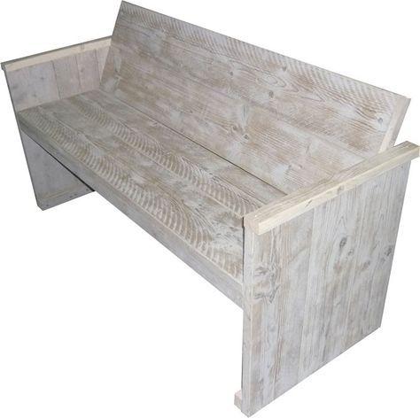 Gratis bouwtekeningen voor een tuinbankje van steigerhout. Afwerking van steigerplanken met white wash en greywash technieken. Doe het zelf tuinbanken.