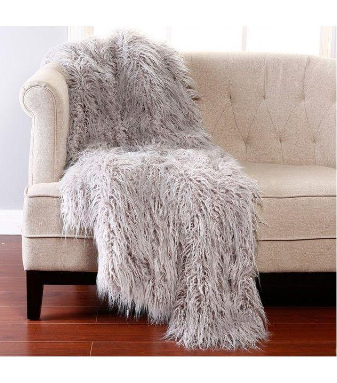 Shaggy Grey Faux Fur Throw