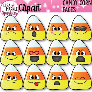 Teaching feelings and emotions will be fun and easy with this set of emotion emoji Halloween candy corn faces! Enjoy using these in your teaching activities, classroom decor, teacher binders, and printables! There are 12 different emotion face graphics and black and white versions of each!