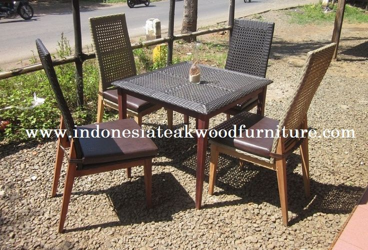 Safari Dining Set eak wood mix synthetic rattan This can be used for indoor or outdoor space  Interested to order? Pls email to zayuk@wisanka.com or call 628112648026