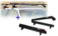 Yakima Buttondown Aero Ski and Snowboard rack 8003070 and SportRack Frontier roof rack package