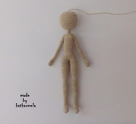 Free pattern of the crochet doll knitting from cotton threads on a wire frame. Author's pattern with photo and video from Katkarmela.