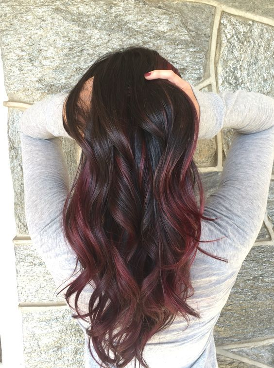 Purple brown black balayage hairstyle