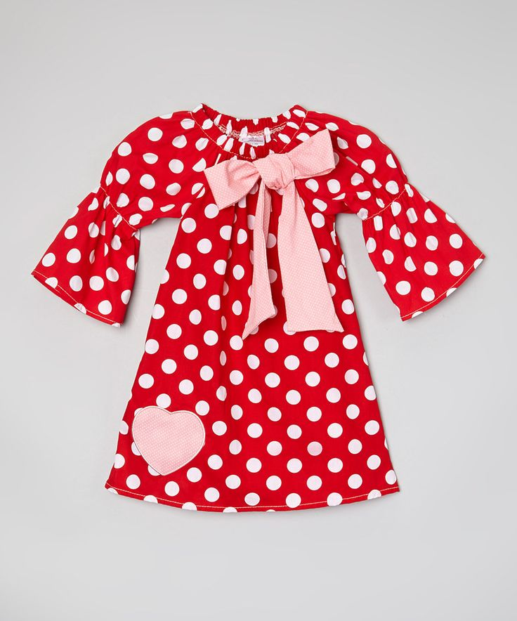 Look at this #zulilyfind! Sweet Cheeks Red & White Polka Dot Heart Dress - Toddler & Girls by Sweet Cheeks #zulilyfinds