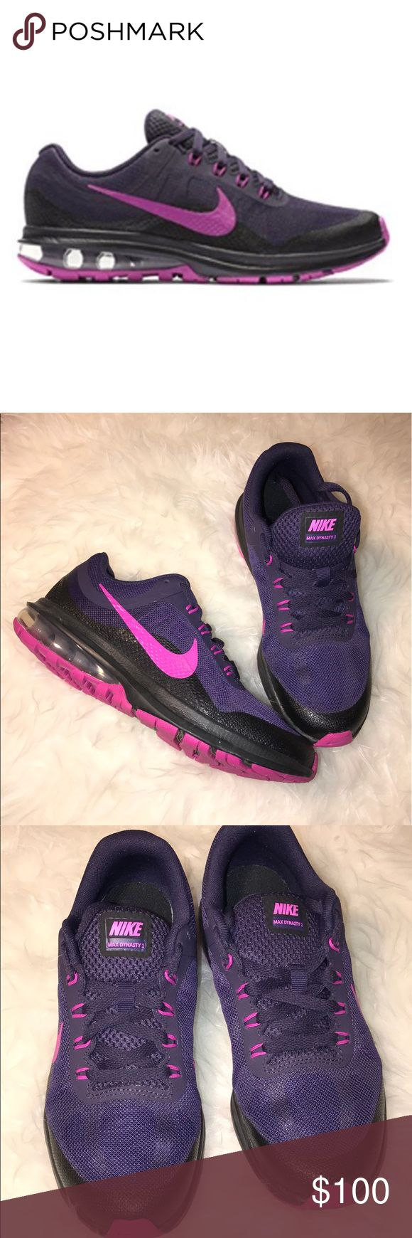 NIKE (sz4.5Y) AIR MAX DYNASTY II G YOUTH ** NIKE AIR MAX DYNASTY II G** 💗NO TRADES💗 -brand new without tags -size 4.5 YOUTH- but will fit a women's 6.5 as well -colors: purple, black, and pink -purple shoelaces come with the shoes -made with breathable material -these are great for running and walking -springs bottom to help with stability and a good work out -The width is medium but it can be adjusted to fit perfectly to the foot -super comfortable shoe -cans from a pet free/smoke free…