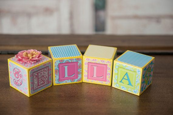 Baby Name Blocks - Nursery Name Blocks - Girls Name Blocks - Baby Shower Gift, Paisley name blocks - Pastel name blocks