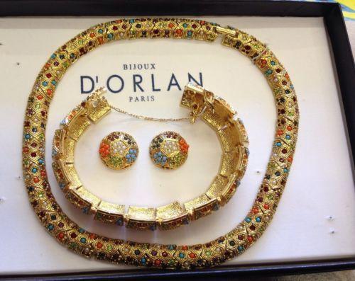 Bijoux American Vintage : Vintage d orlan bijoux multi colour stones necklace