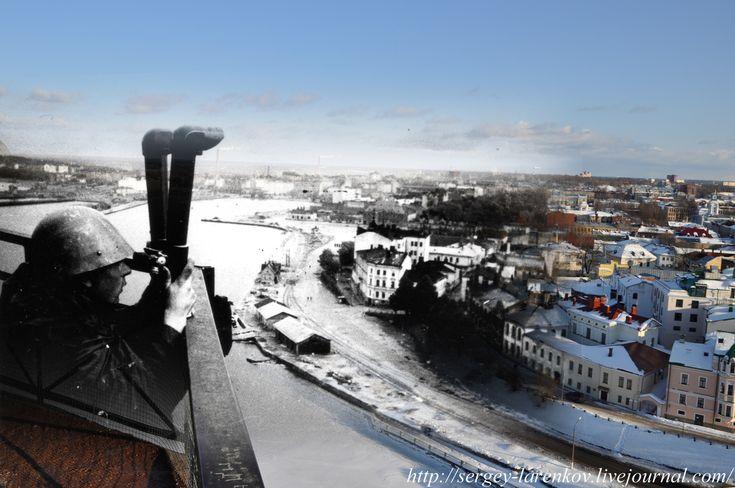 Выборг 1940/2011 Финский наблюдательный пункт на башне.  Vyborg 1940/2011 Finnish observation point on the tower.