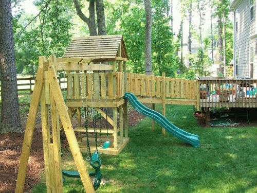 I like this bridge off of the deck but we don 39 t have for Swing set bridge