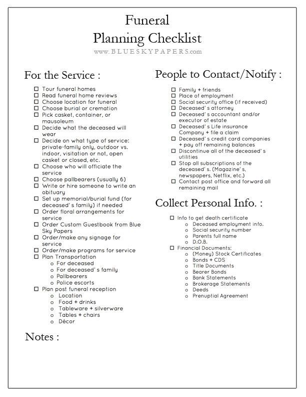 How To Plan A Funeral Free Funeral Planning Checklist Download Www Blueskypapers Com Funeral Planning Checklist Funeral Planning Funeral Checklist
