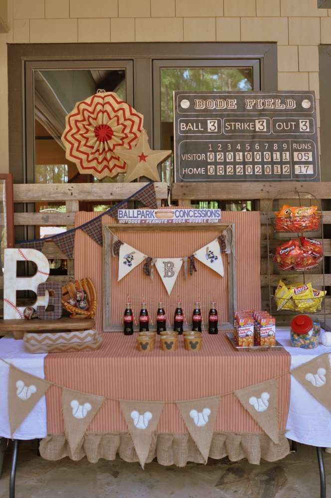 Vintage Mickey baseball birthday party! See more party planning ideas at CatchMyParty.com!
