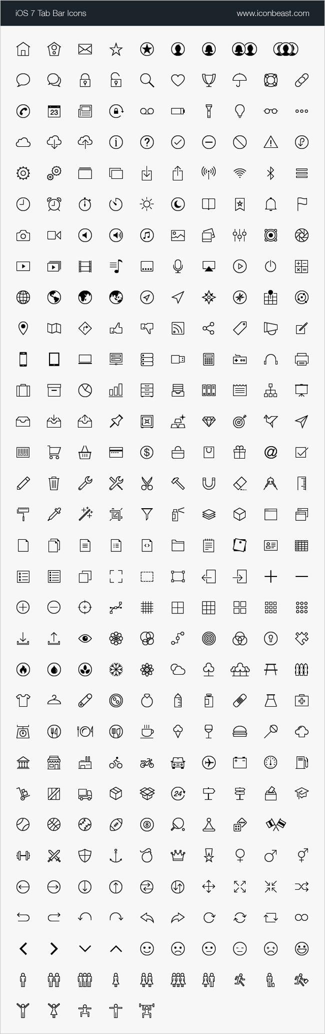 2,000  High-Quality, iOS Tab Bar and Toolbar Icons