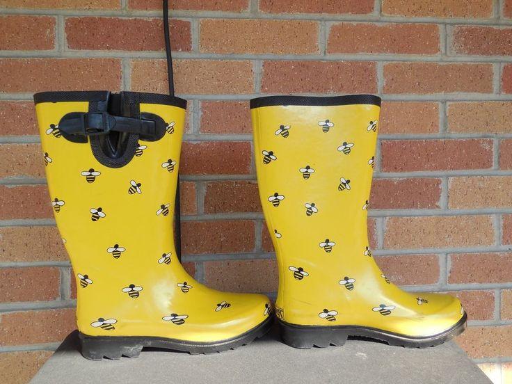 B12 WOMENS RANGER YELLOW RUBBER HONEY BEE PRINTED RAIN BOOTS 7 M  #Ranger #Rainboots #Weather