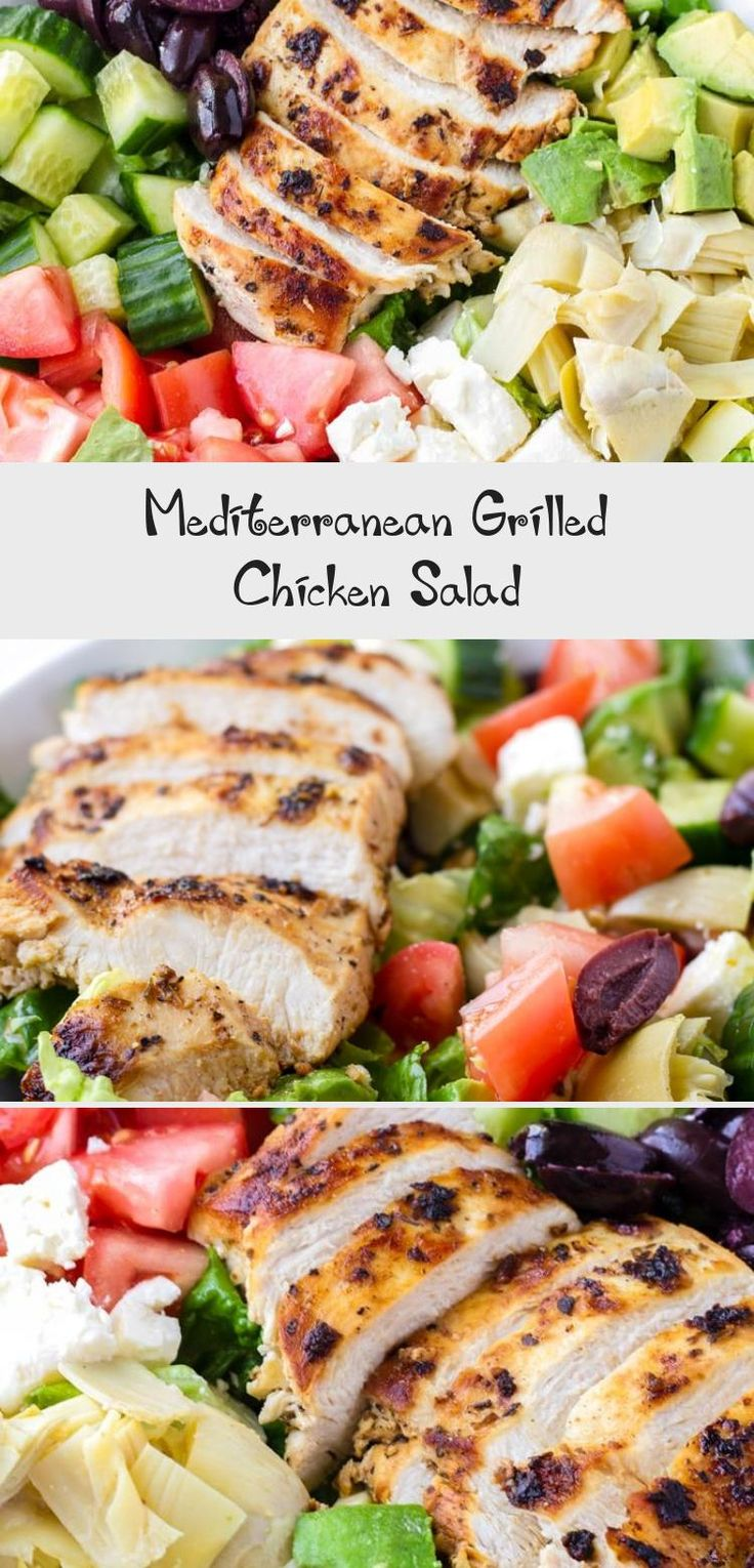 The best Mediterranean Chicken Salad! This Mediterranean grilled chicken salad is made with juicy a flavorful grilled chicken breast, complete with a mediterranean red wine dressing. Tossed feta, olives, avocado, and artichokes #cookingformysoul #mediterraneansalad #mediterraneandiet #grilledchickensalad #grilledchicken #mediterraneangrilledchicken   cookingformysoul.com #Steaksaladrecipes #Shrimpsaladrecipes #Carrotsaladrecipes #Springsaladrecipes #MasonJarsaladrecipes