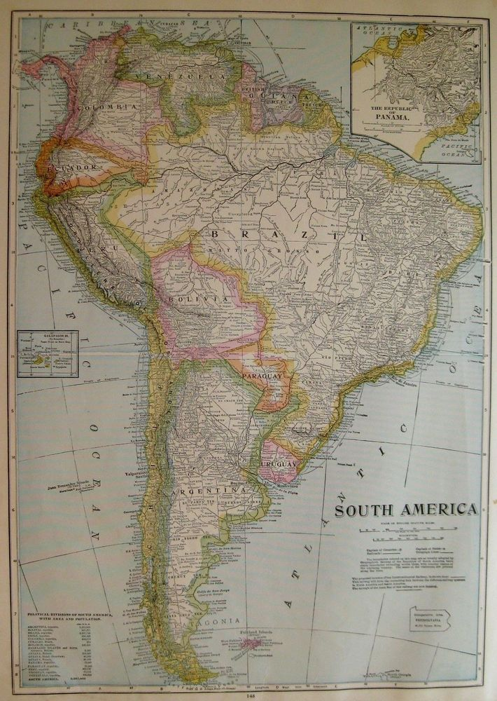 South America Map Borders%0A      Antique SOUTH AMERICA Map Poster Print SIZE Vintage Map of South  America