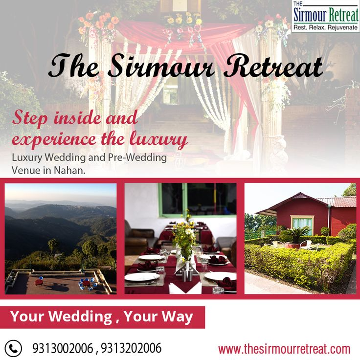 The Sirmour Retreat is one of the best resort in #Nahan for #Luxury #Wedding and #PreWedding.💃 Contact Us☎️ +91-9313002006 / +91-9313202006 E-mail 📧 jpbr_sirmour@yahoo.co.in Visit👉 https://goo.gl/o2poEd