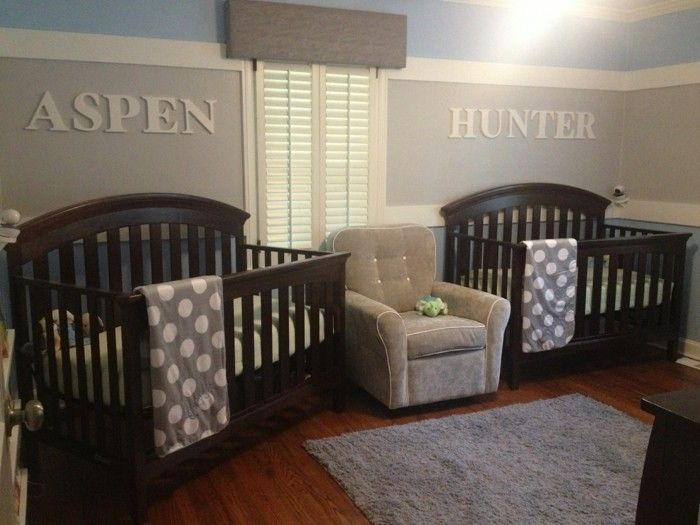 peinture chambre bb en gris et bleu formidable idee deco chambre jumeaux - Chambre Jumeaux Deco