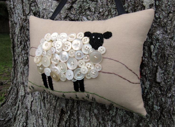 Primitive Ireland Sheep Embroidery Pillow by WickedlyCreative. $15.00 USD, via Etsy.